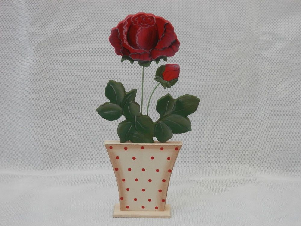 Dark Red Rose in Wooden Polka Dot Pot Summer Gift